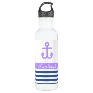 Lilac Navy Nautical Theme 710 Ml Water Bottle