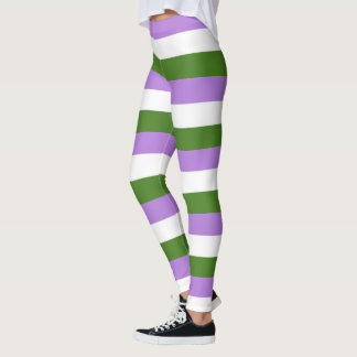 Lilac, Olive, White Stripe GenderQueer Pride Flag Leggings