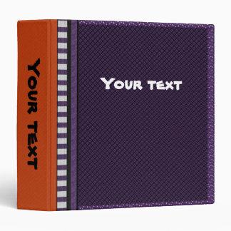 Lilac, orange, black and white design 3 ring binder