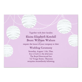 Lilac Party Lanterns Wedding Invitation