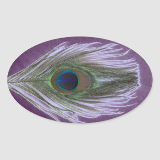 Lilac Peacock Feather D Oval Sticker