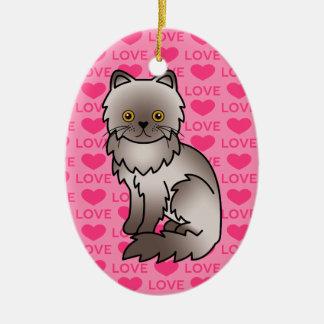Lilac Persian Cat Love Ceramic Ornament