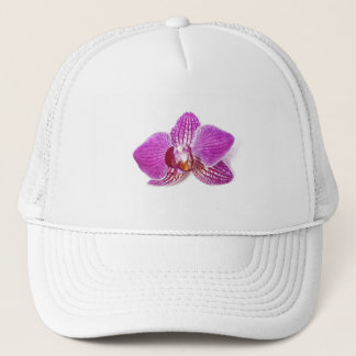 Lilac phalaenopsis floral aquarel painting trucker hat