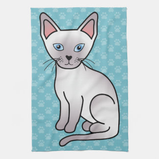 Lilac Point Siamese Breed Cat Cartoon Drawing Kitchen Towel