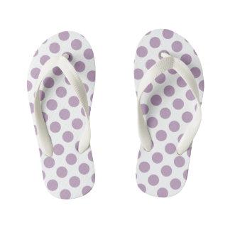 Lilac Polka Dots Kid's Flip Flops