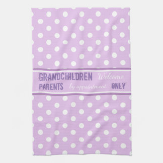 Lilac polka dots Kitchen Grandparents Kitchen Towel