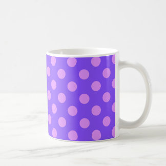 Lilac polka dots on periwinkle coffee mug
