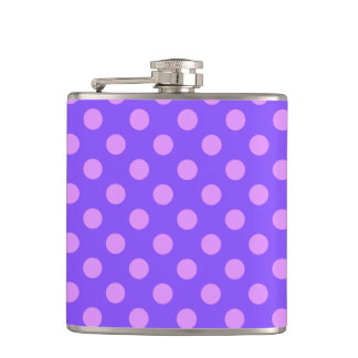 Lilac polka dots on periwinkle flasks