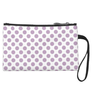 Lilac Polka Dots Suede Wristlet