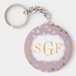 Lilac Purple and Gold Glitter Monogram Key Chain