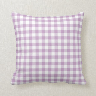 Lilac Purple and White Gingham Throw Pillows