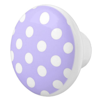 Lilac Purple and white Polka dot pattern Ceramic Knob