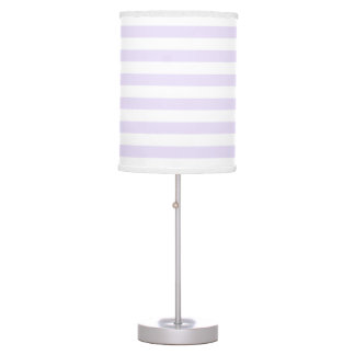 Lilac Purple and White Stripe pattern Table Lamp
