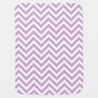 Lilac Purple and White Zigzag Chevron Stripes Baby Blanket