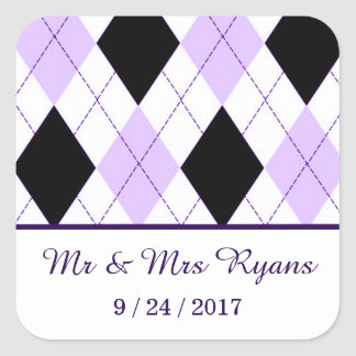 Lilac Purple Black Argyle Wedding Square Sticker