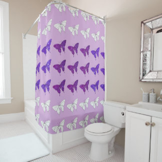 Lilac Purple Butterflies Glittery Bath Bathroom