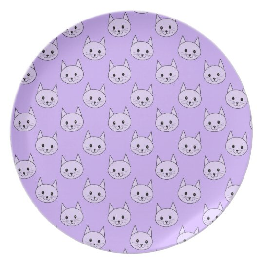 Lilac Purple cat pattern. Plate