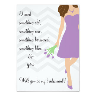 "Lilac Purple Chevron Will You Be My Bridesmaid 4.5"" X 6.25"" Invitation Card"