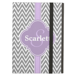 Lilac Purple Gray Chevron Pattern and Monogram iPad Air Cover