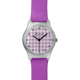 Lilac purple hounds tooth pattern watch for women