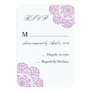 Lilac Purple Lace RSVP card