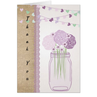 Lilac Purple Mason Jar Burlap Lace Thank You Card