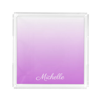 Lilac purple ombre personalized name acrylic tray