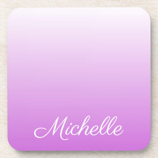 Lilac purple ombre personalized name coaster