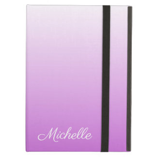 Lilac purple ombre personalized name cover for iPad air