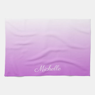 Lilac purple ombre personalized name kitchen towel