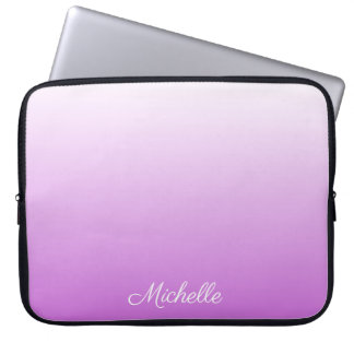 Lilac purple ombre personalized name laptop sleeve