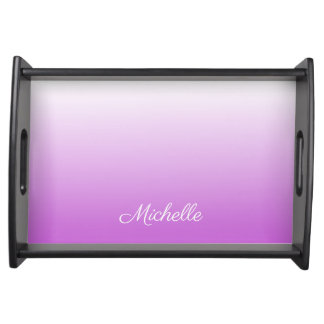Lilac purple ombre personalized name serving tray