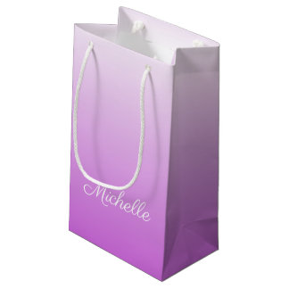 Lilac purple ombre personalized name small gift bag