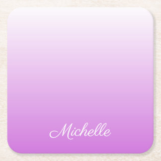 Lilac purple ombre personalized name square paper coaster