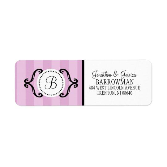 Lilac Purple Sweet Charming Striped Personalizedg Return Address Label