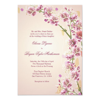 Lilac purple watercolor flowers wedding invitation