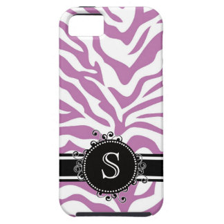 Lilac Purple  Zebra Print with Monogram iPhone 5 Cases