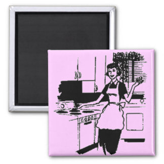 Lilac Retro 50's Housewife in the Kitchen Magnet