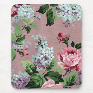 Lilac & Roses Vintage Wallpaper Print - Mousepad