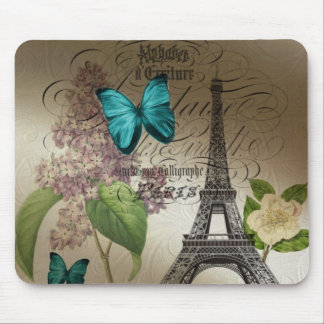 lilac scripts modern vintage paris eiffel tower mouse pad