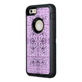 Lilac scrollwork pattern OtterBox defender iPhone case