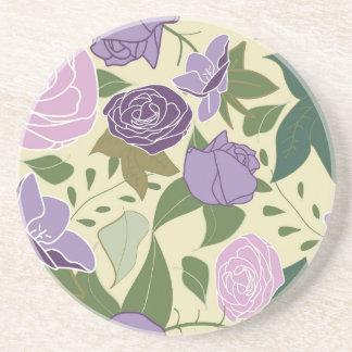lilac silk roses beverage coasters
