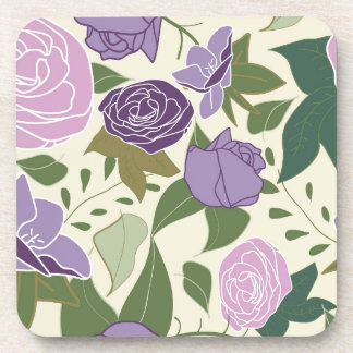 lilac silk roses drink coasters
