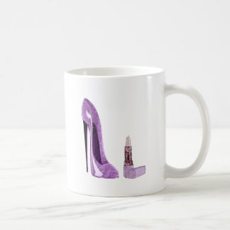 Lilac Stiletto Shoe and Lipstick Art Coffee Mug