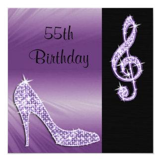 Lilac Stiletto & Treble Cleft 55th Birthday Card