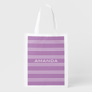 Lilac Stripes custom monogram reusable bag Market Totes