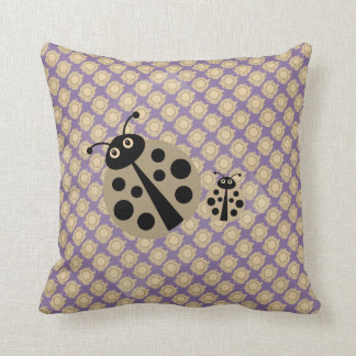 Lilac Summer Polka Dot Lady Bugs Pillow