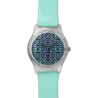 Lilac/Teal Aztec Pattern Wristwatch