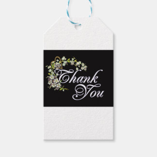 lilac thank you on black gift tags