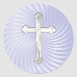 Lilac Twirl Silver Pearl Cross Classic Round Sticker
